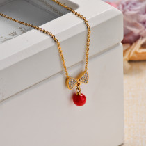 18k Gold Plated Red Ribbon Pendant Necklace -SSNEG143-32831