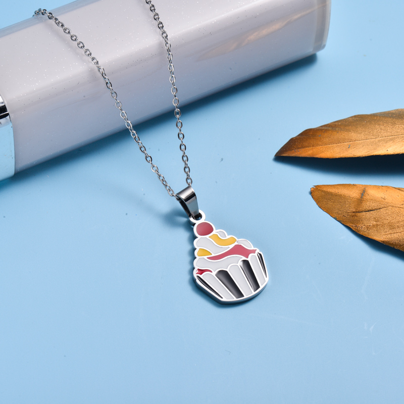 Stainless Steel Enamel Cute Pendant Necklace for Kids -SSNEG143-33029