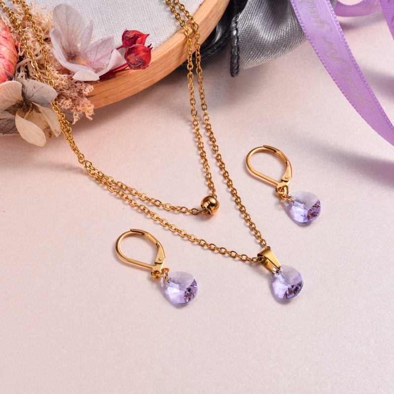 18k Gold Plated Crystal Jewelry Sets -SSCSG143-32954
