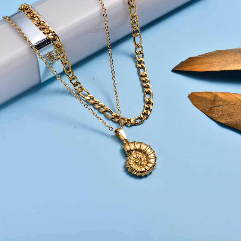18k Gold Plated Marine Beach Style Double Layer Necklace -SSNEG143-33014