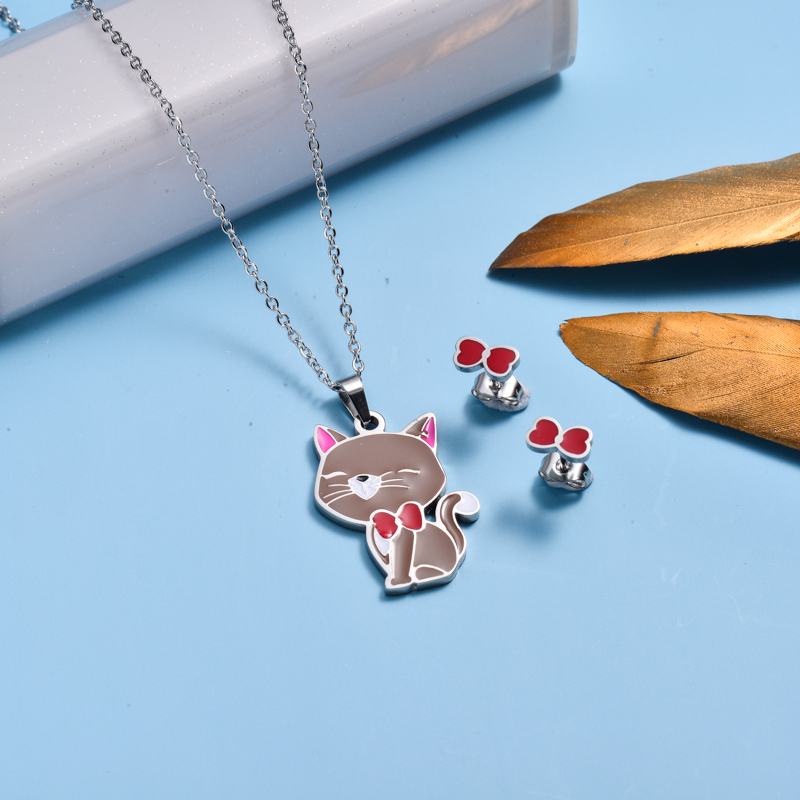 Stainless Steel Enamel Cute Jewelry Sets for Children -SSCSG143-33034