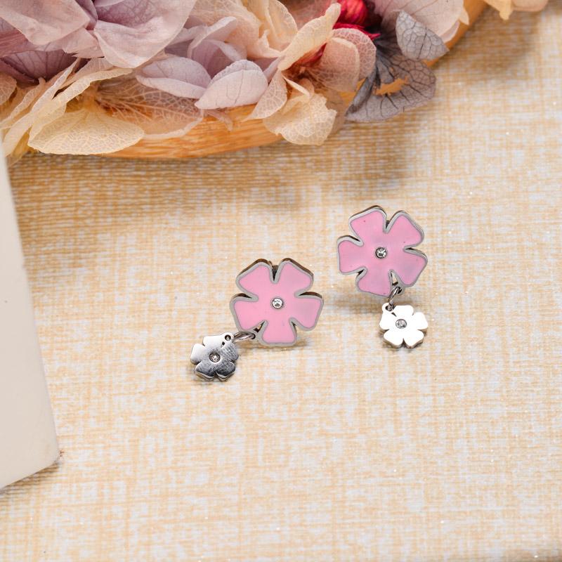 Stainless Steel Pink Flower Drop Earrings -SSEGG143-32864