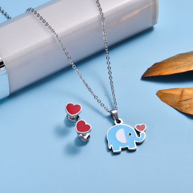 Stainless Steel Enamel Cute Jewelry Sets for Children -SSCSG143-33036