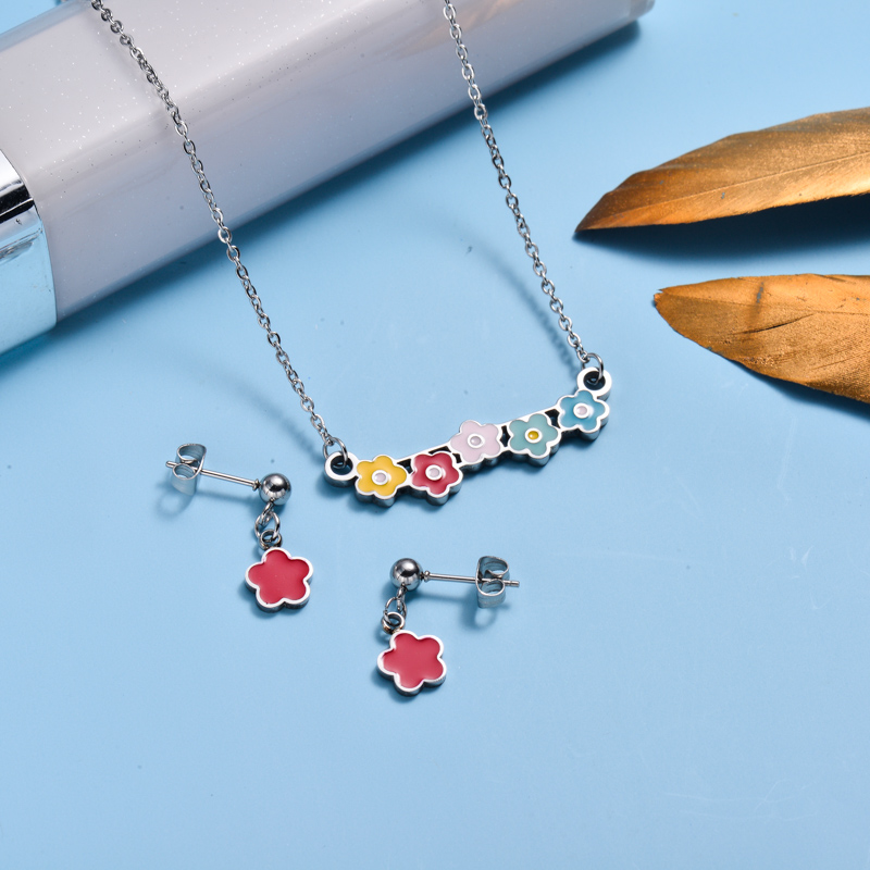 Stainless Steel Enamel Cute Jewelry Sets for Children -SSCSG143-33030