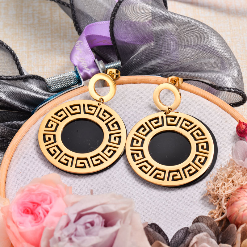 18k Gold Plated Black Drop Earrings -SSEGG143-32870
