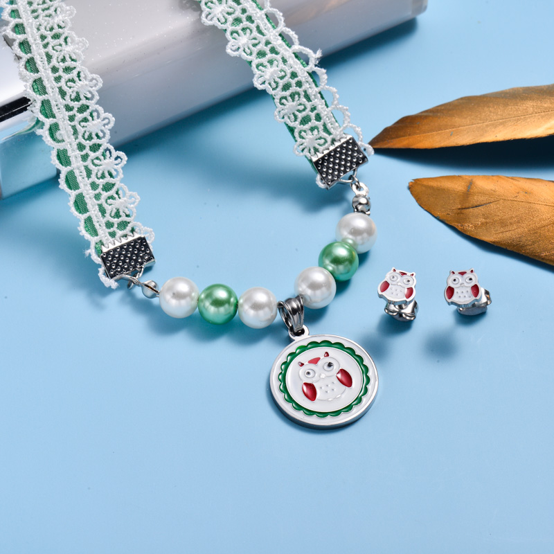 Stainless Steel Enamel Cute Jewelry Sets for Children -SSCSG143-33027