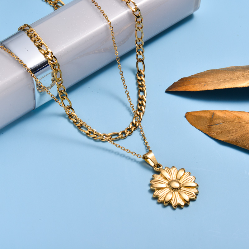 18k Gold Plated Sunflower Double Layer Necklace -SSNEG143-33011
