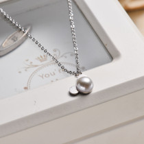 Stainless Steel Pearl Pendant Necklace -SSNEG143-32833