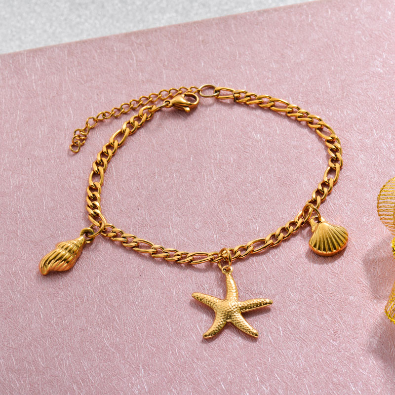 18k Gold Plated Beach Marine Charm Bracelets -SSBTG143-32791