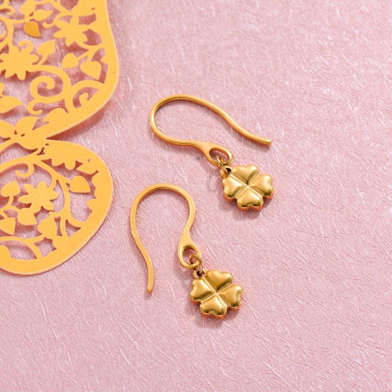 18k Gold Plated Clover Drop Earrings -SSEGG143-32811