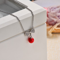 Stainless Steel Red Ribbon Pendant Necklace -SSNEG143-32832