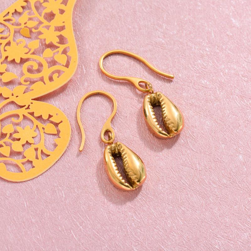 18k Gold Plated Marine Beach Drop Earrings -SSEGG143-32812