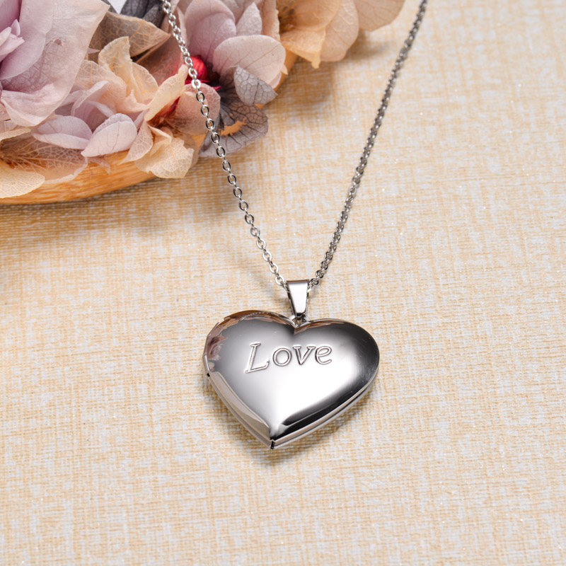 Stainless Steel Lock Pendant Necklace -SSNEG143-32855