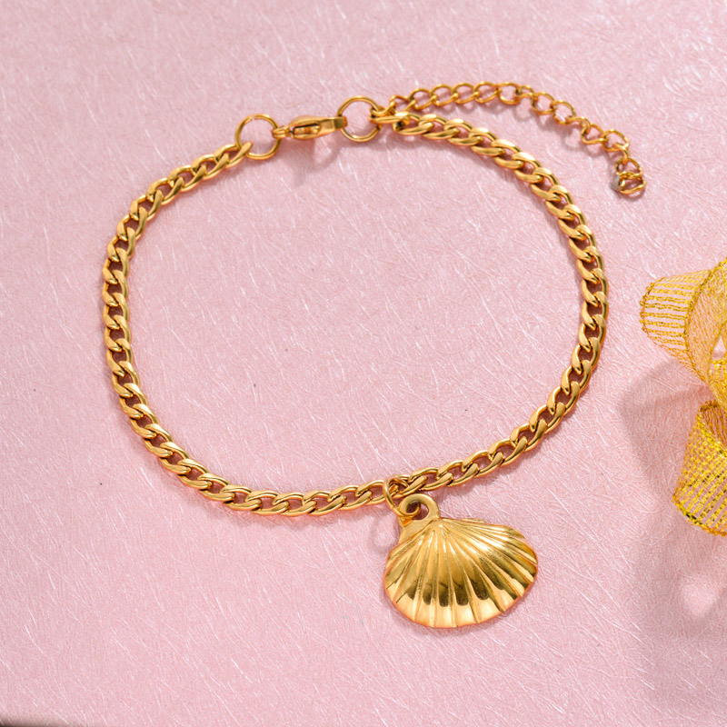 18k Gold Plated Beach Marine Charm Bracelets -SSBTG143-32781