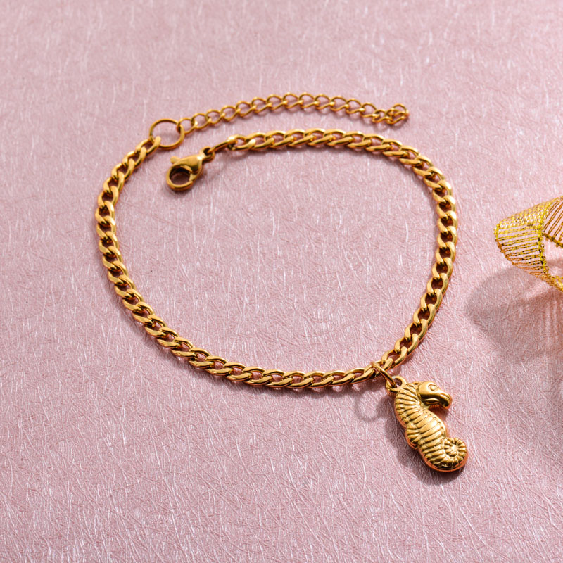 18k Gold Plated Beach Marine Charm Bracelets -SSBTG143-32782
