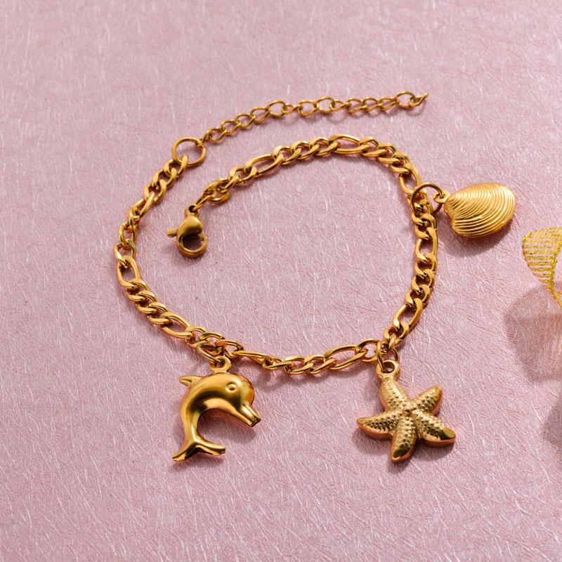 18k Gold Plated Beach Marine Charm Bracelets -SSBTG143-32783