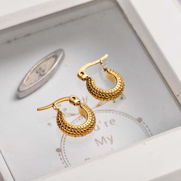 18k Gold Plated Huggies Hoop Earrings -SSEGG143-32867