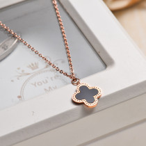 Rose Gold Plated Clover Pendant Necklace -SSNEG143-32834