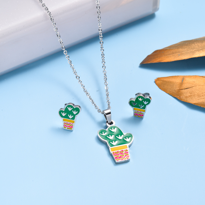 Stainless Steel Enamel Cute Jewelry Sets for Children -SSCSG143-33037