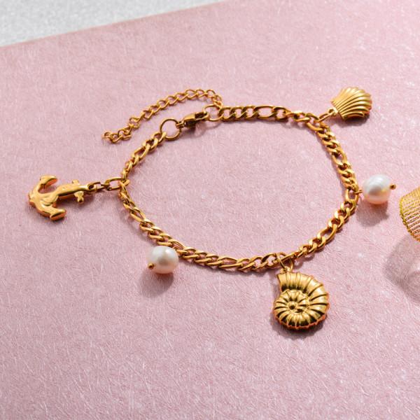 18k Gold Plated Beach Marine Charm Bracelets -SSBTG143-32777