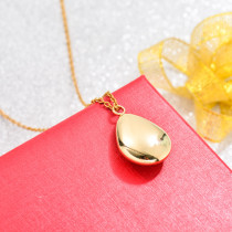 18k Gold Plated Oval Drop Pendant Necklace -SSNEG142-32737