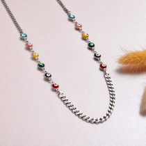 Stainless Steel Evil Eye Link Chain Necklace -SSNEG143-32979