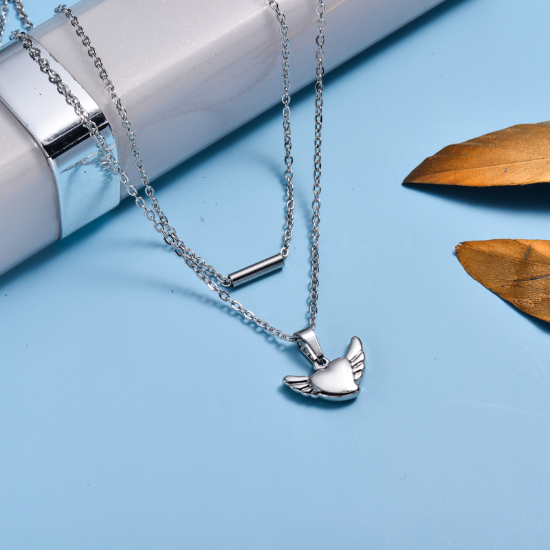 Stainless Steel Heart Layered Necklace -SSNEG143-33020