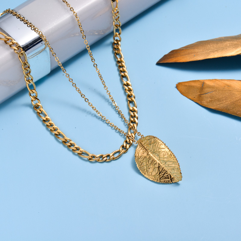 18k Gold Plated Leaf Double Layer Necklace -SSNEG143-33012