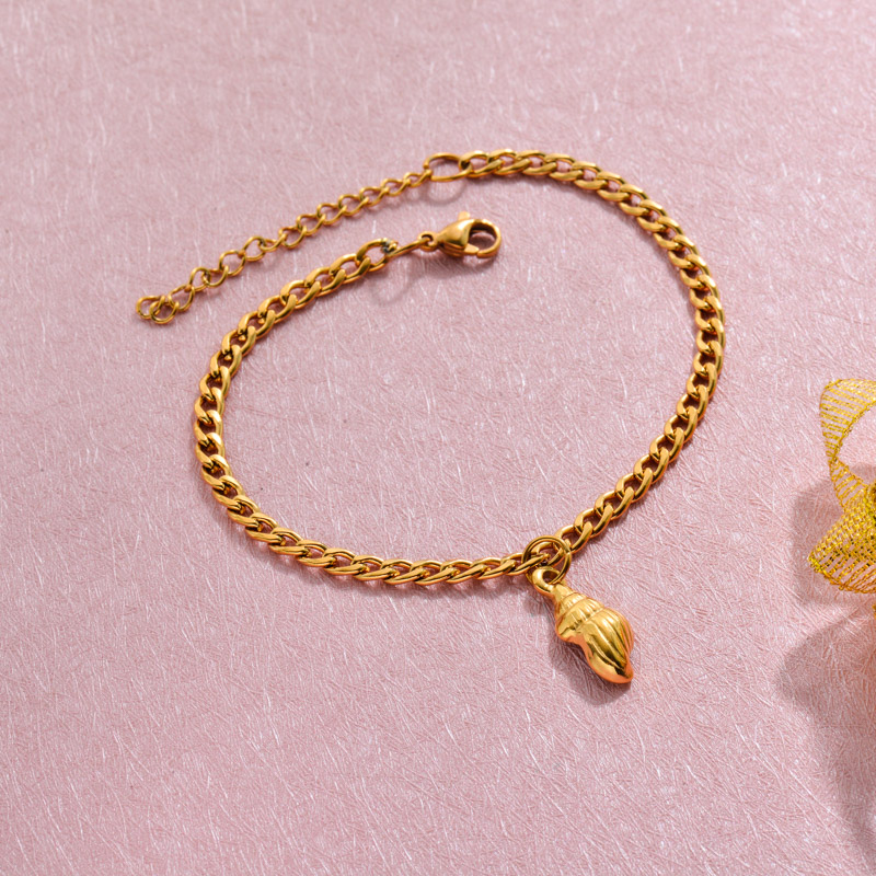 18k Gold Plated Beach Marine Charm Bracelets -SSBTG143-32785