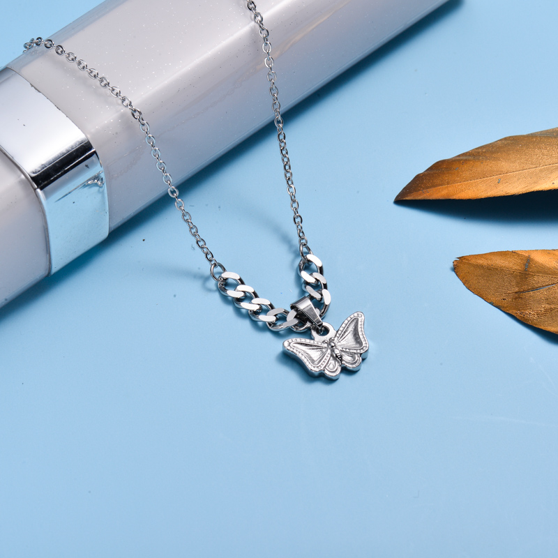 Stainless Steel Butterfly Layer Necklace -SSNEG143-33021