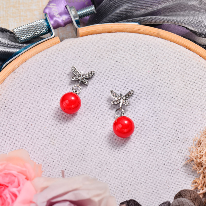 Stainless Steel Dragonfly Red Drop Earrings -SSEGG143-32872