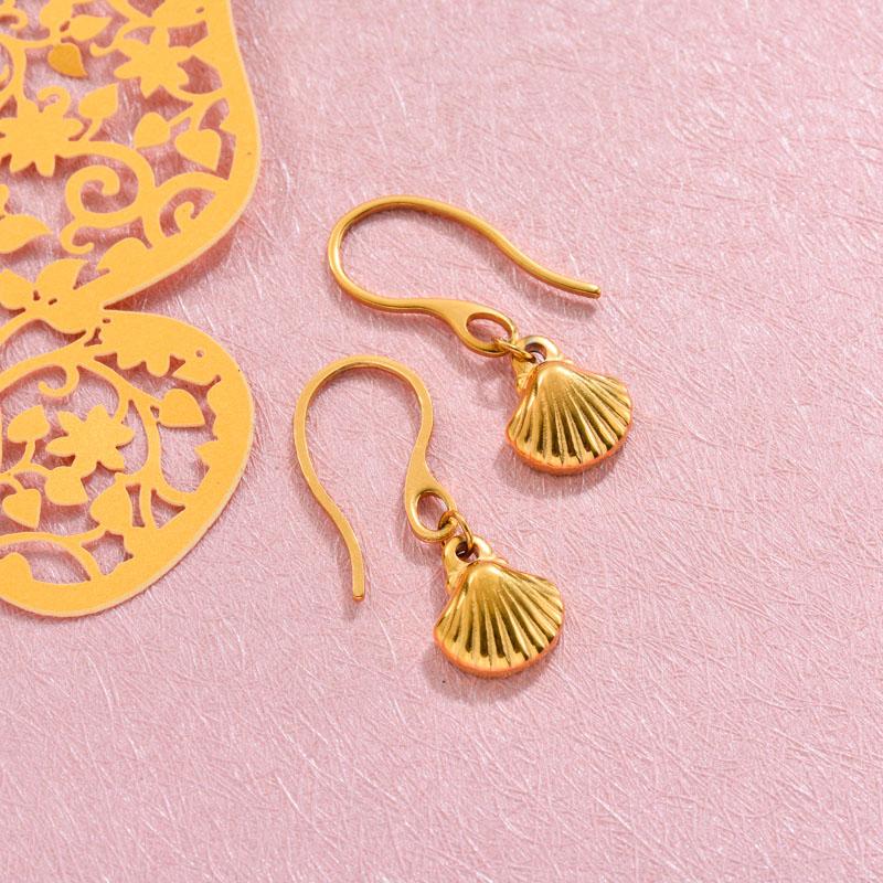 18k Gold Plated Marine Beach Drop Earrings -SSEGG143-32815