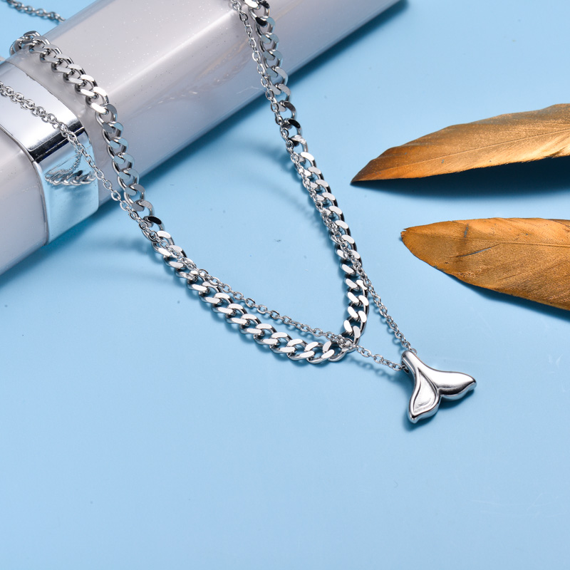 Stainless Steel Marine Beach Style Layer Necklace -SSNEG143-33010