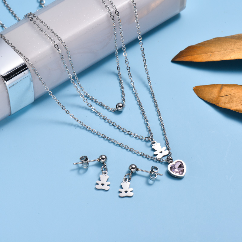 Stainless Steel Dainty Bear Heart Layered Necklace  Sets-SSCSG143-32994
