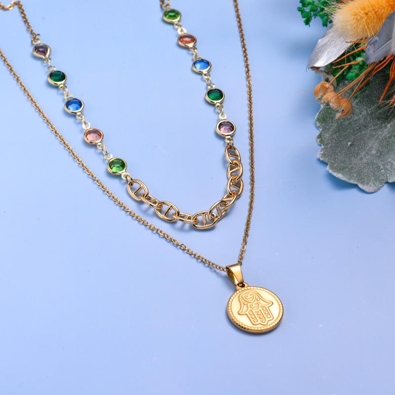 Collares de Acero Inoxidable para Mujer al por Mayor -SSNEG142-33607