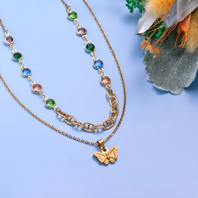 Collares de Acero Inoxidable para Mujer al por Mayor -SSNEG142-33608