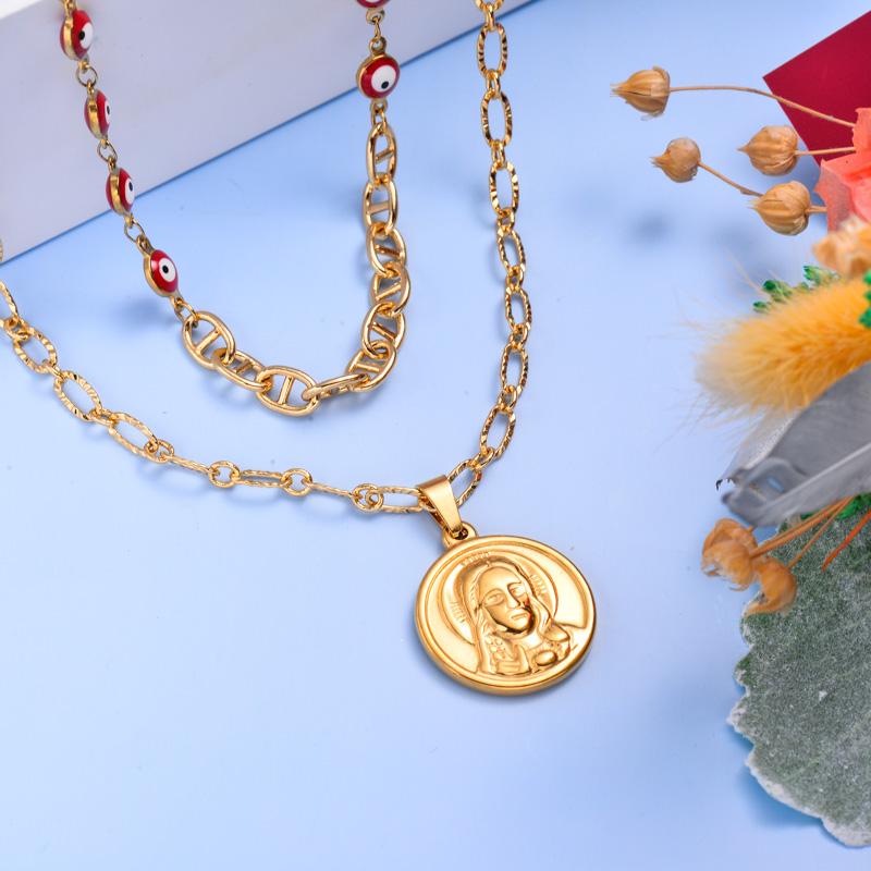 Collares de Acero Inoxidable para Mujer al por Mayor -SSNEG142-33601