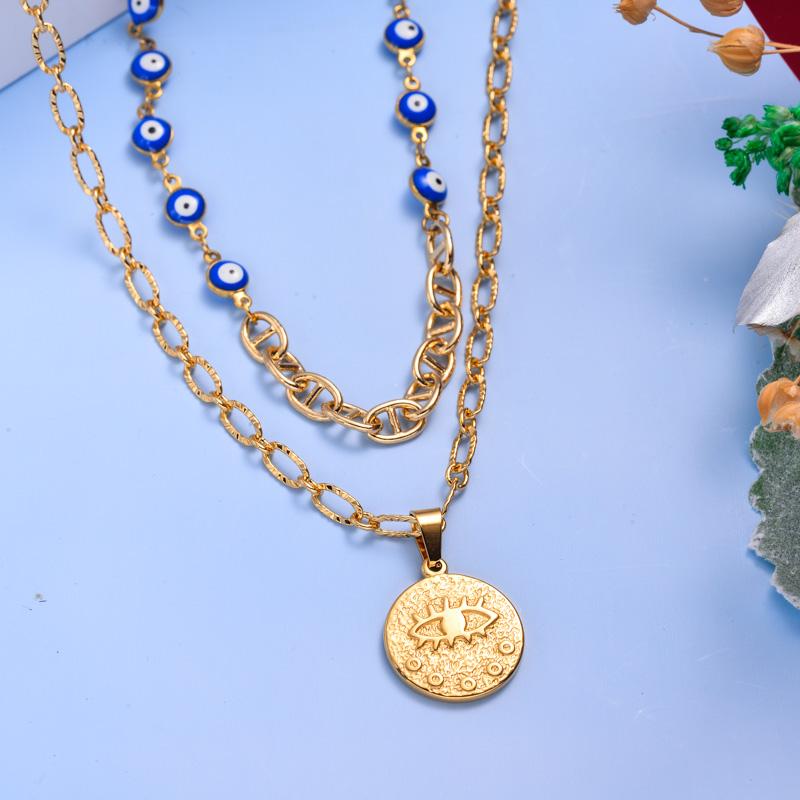 Collares de Acero Inoxidable para Mujer al por Mayor -SSNEG142-33605