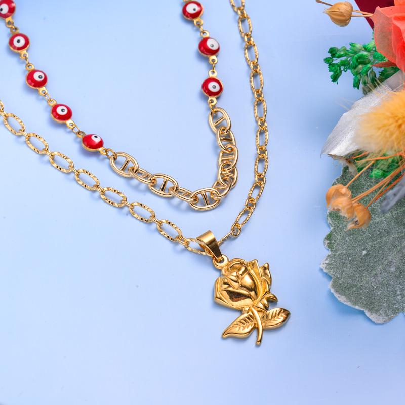 Collares de Acero Inoxidable para Mujer al por Mayor -SSNEG142-33604