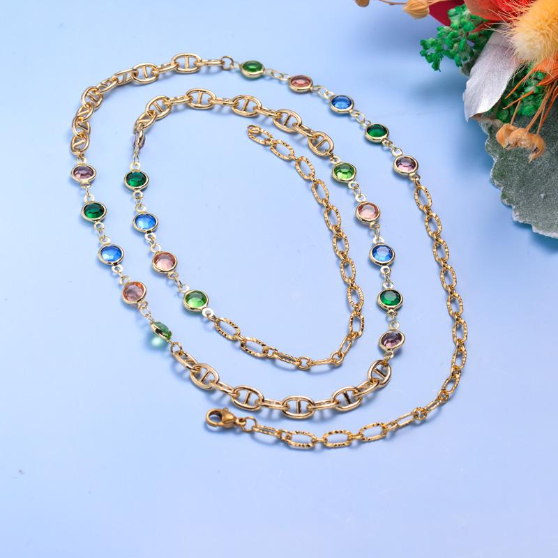 Collares de Acero Inoxidable para Mujer al por Mayor -SSNEG142-33606