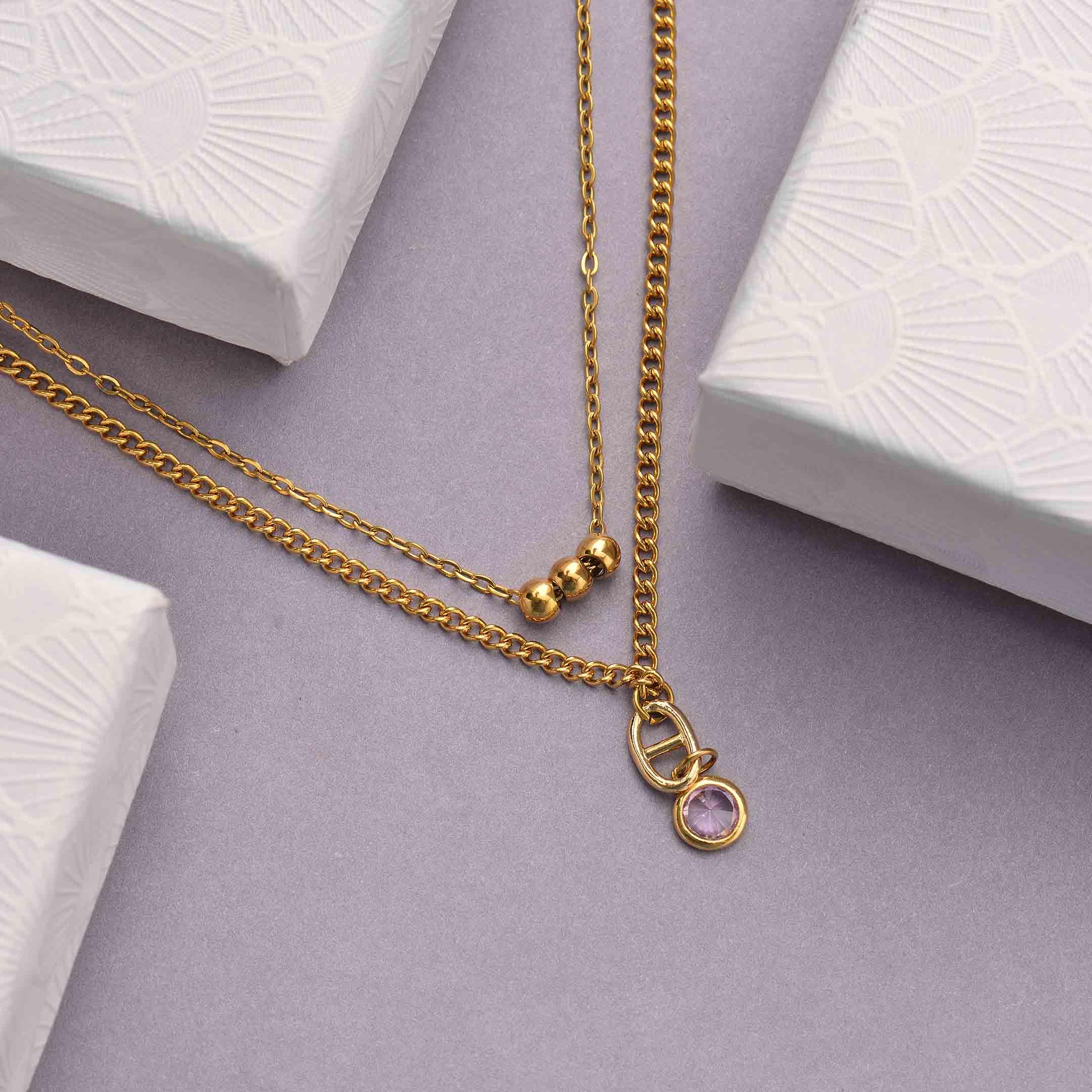 Collares de Acero Inoxidable para Mujer al por Mayor -SSNEG142-33805