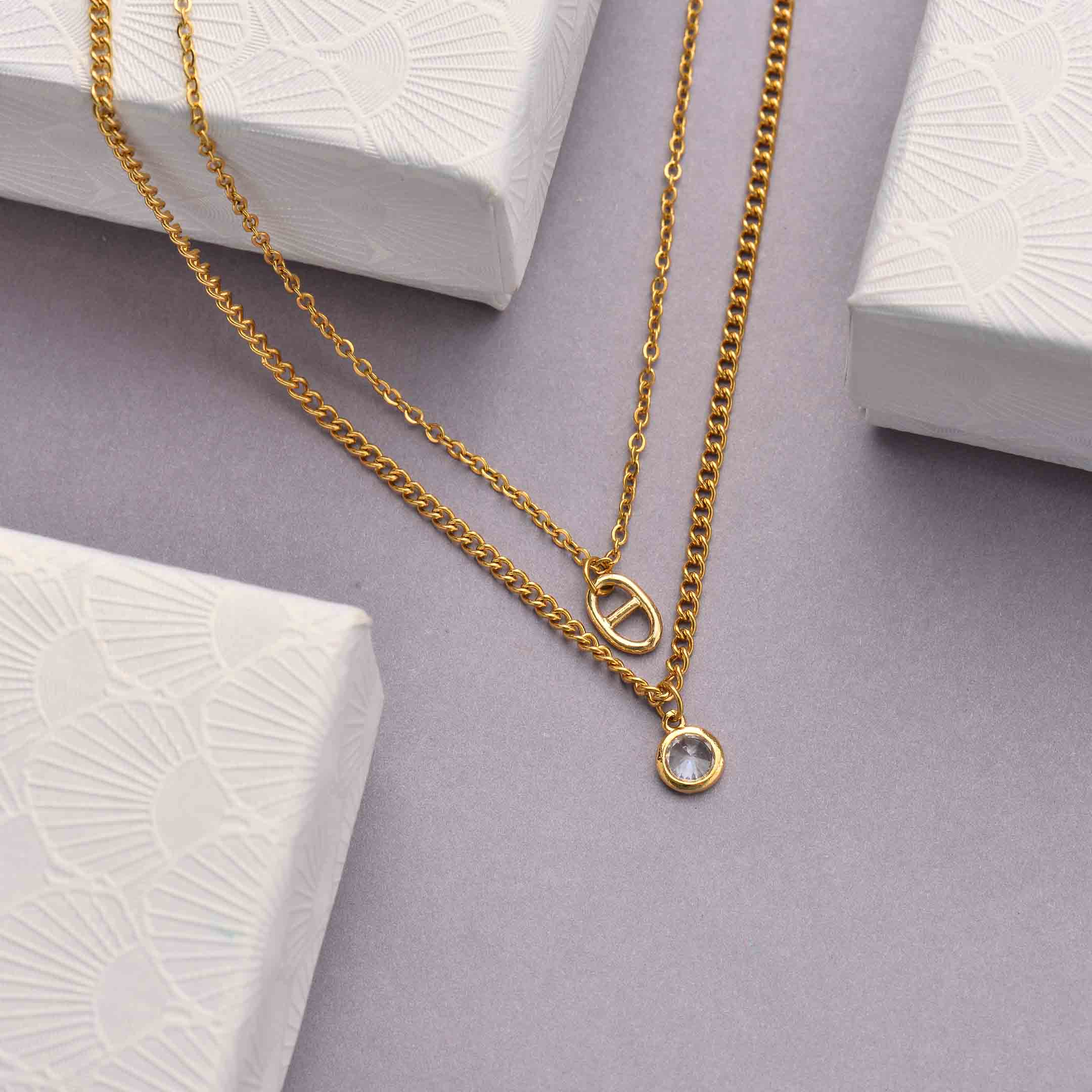 Collares de Acero Inoxidable para Mujer al por Mayor -SSNEG142-33803