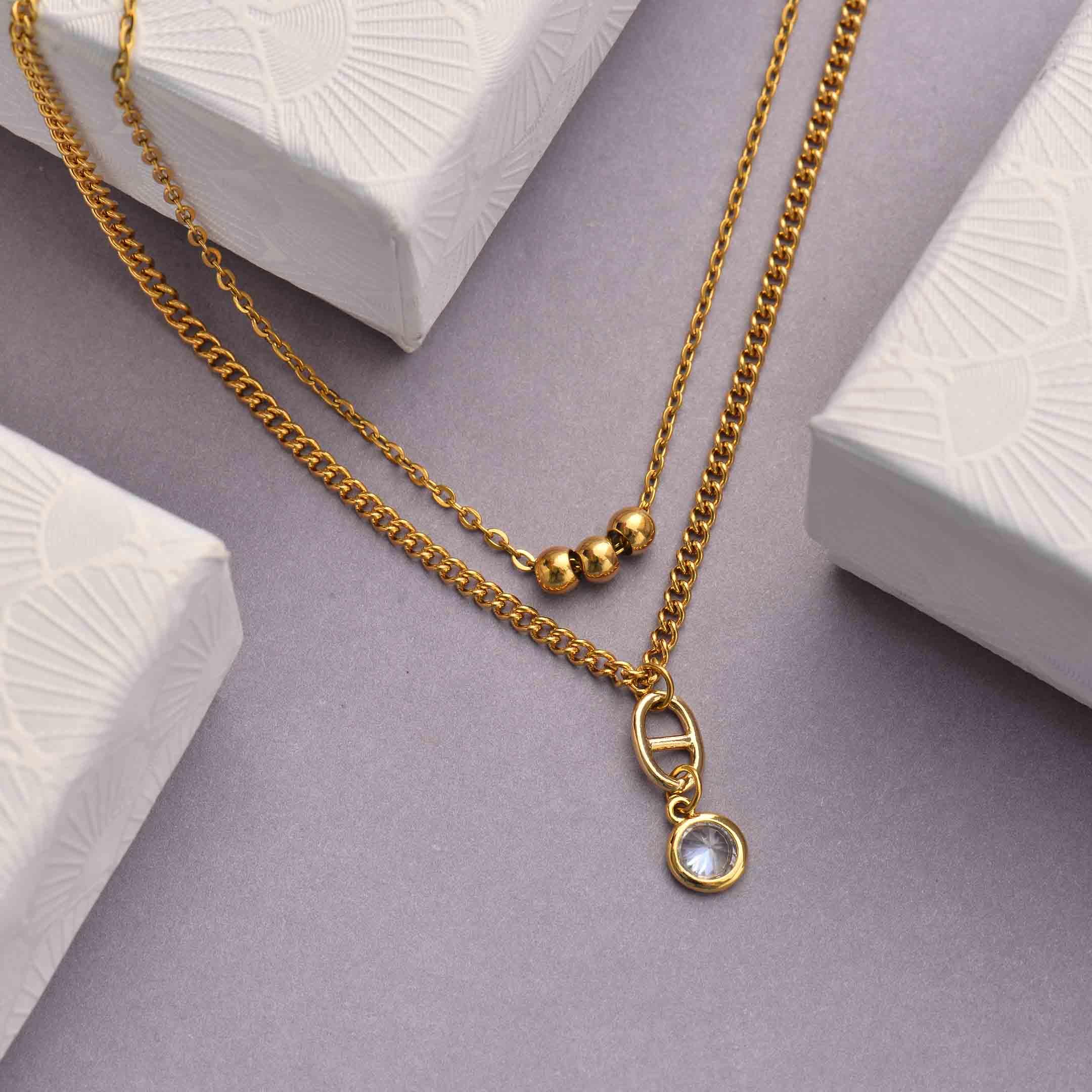 Collares de Acero Inoxidable para Mujer al por Mayor -SSNEG142-33807