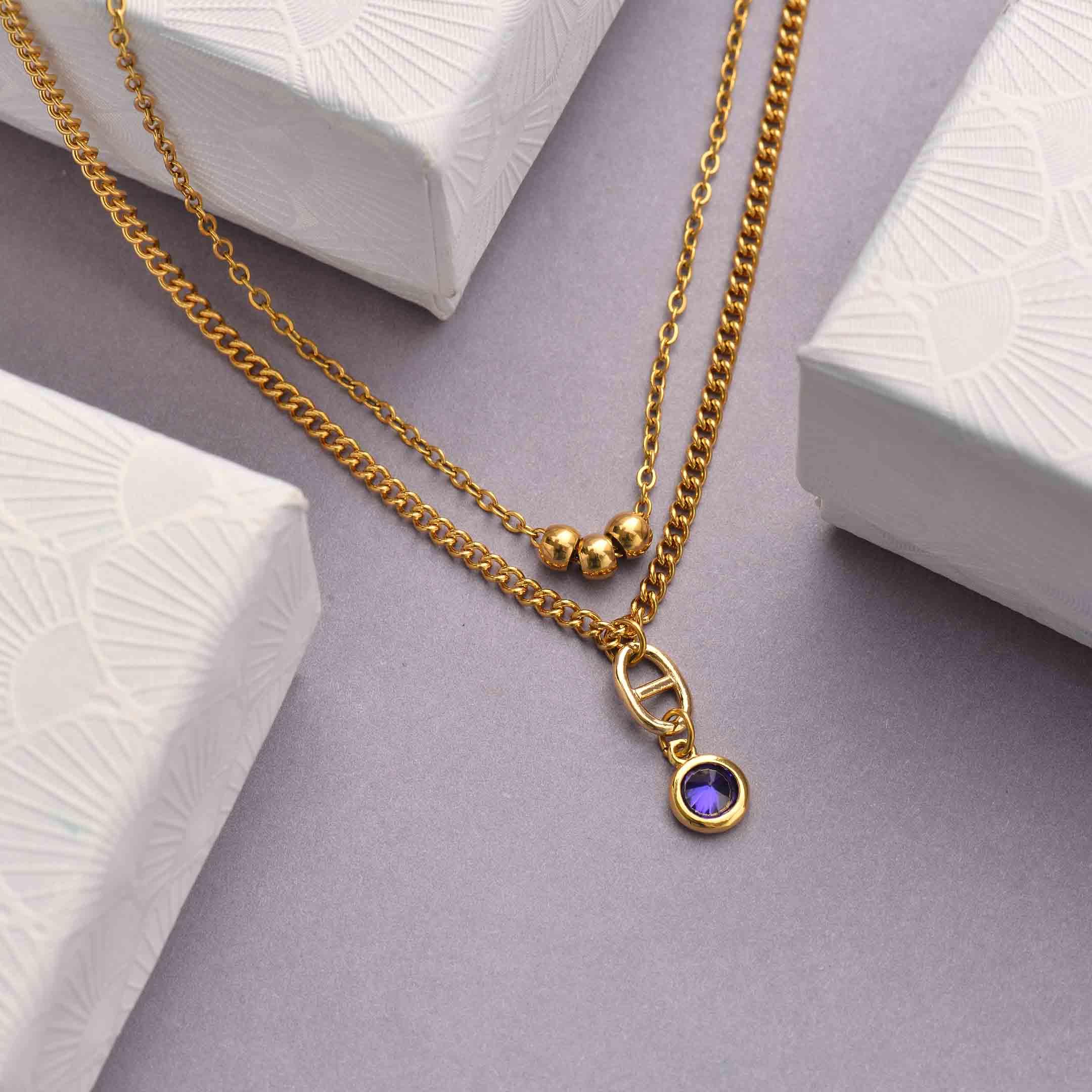 Collares de Acero Inoxidable para Mujer al por Mayor -SSNEG142-33808
