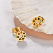 Aretes Multi Color en Acero Inoxidable -SSEGG143-9576