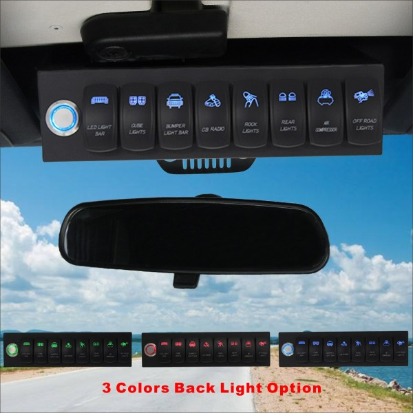 8 Switch Control System for Jeep Wrangler JK Blue Backlight