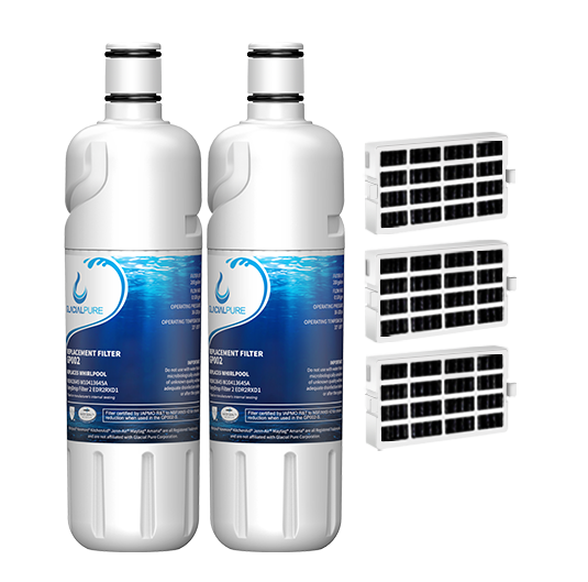 GlacialPure w10413645a, Edr2rxd1 Water Filter, Filter 2 with Air Filter (2 Pack)
