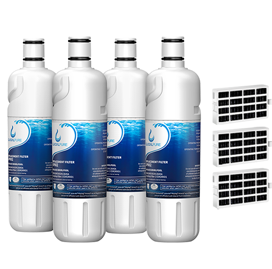 GlacialPure w10413645a, Edr2rxd1 Water Filter, Filter 2 with Air Filter (4 Pack)