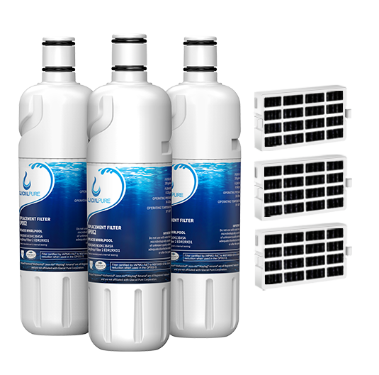 GlacialPure w10413645a, Edr2rxd1 Water Filter, Filter 2 with Air Filter (3 Pack)