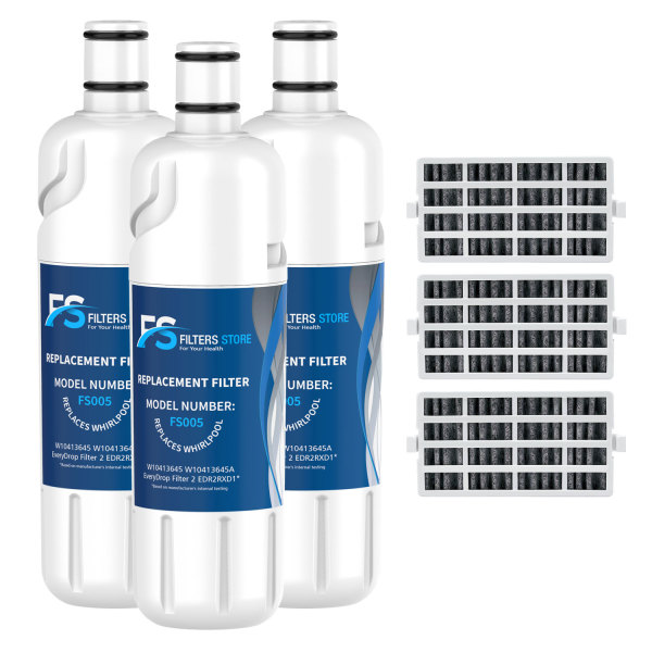 FS Edr2rxd1, w10413645a Water Filter, Filter 2 with Air Filter (3 Pack)